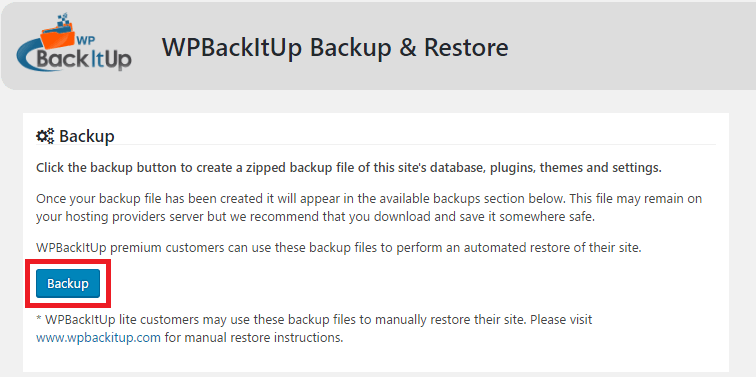 One-click site backup