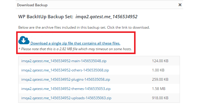 Download backup zip file