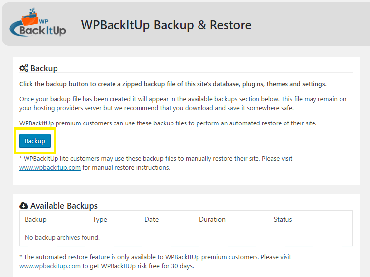 WPBackItUp backup procedure