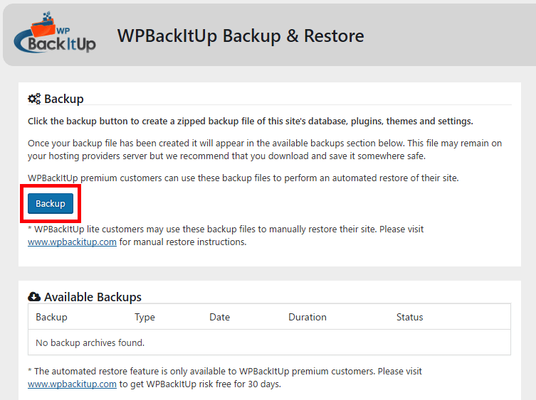 WPBackItUp one-click backup