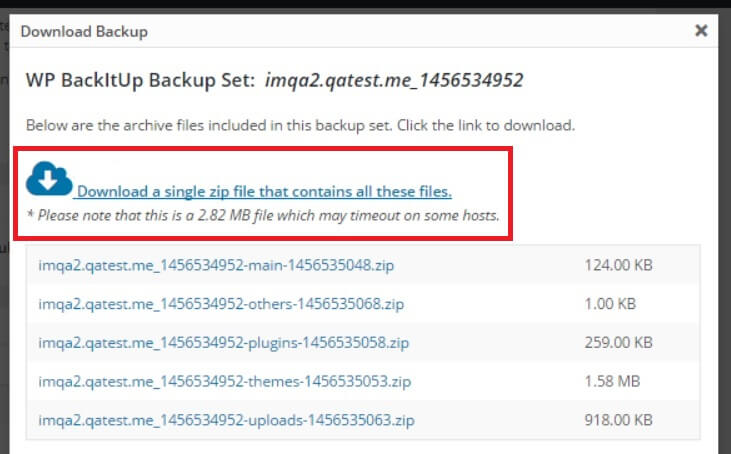 WPBackItUp download backup button