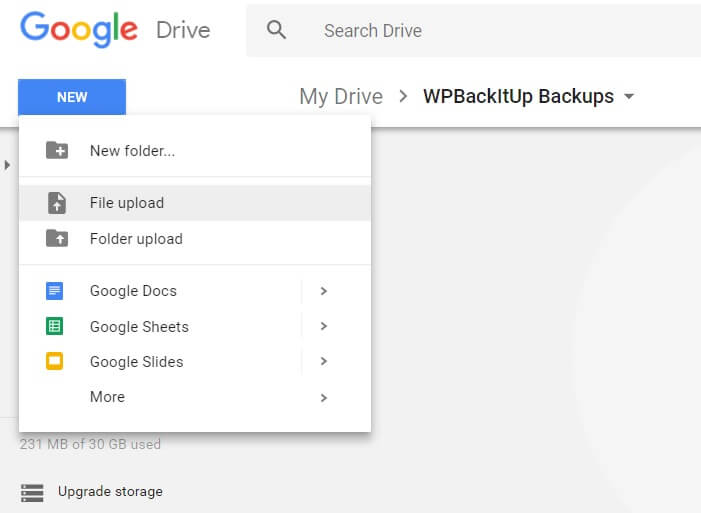 Google Drive file upload selection