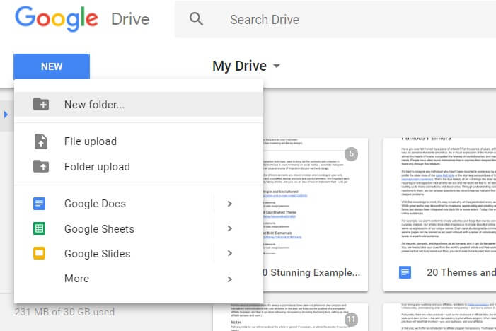 New folder creation on Google Drive