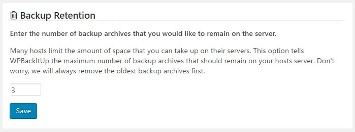 WPBackItUp backup retention setting