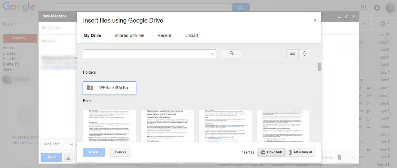 A Gmail pop-up box enabling the attachment of Google Drive files