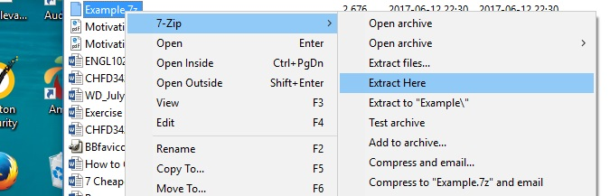 The path for extracting files on 7-Zip