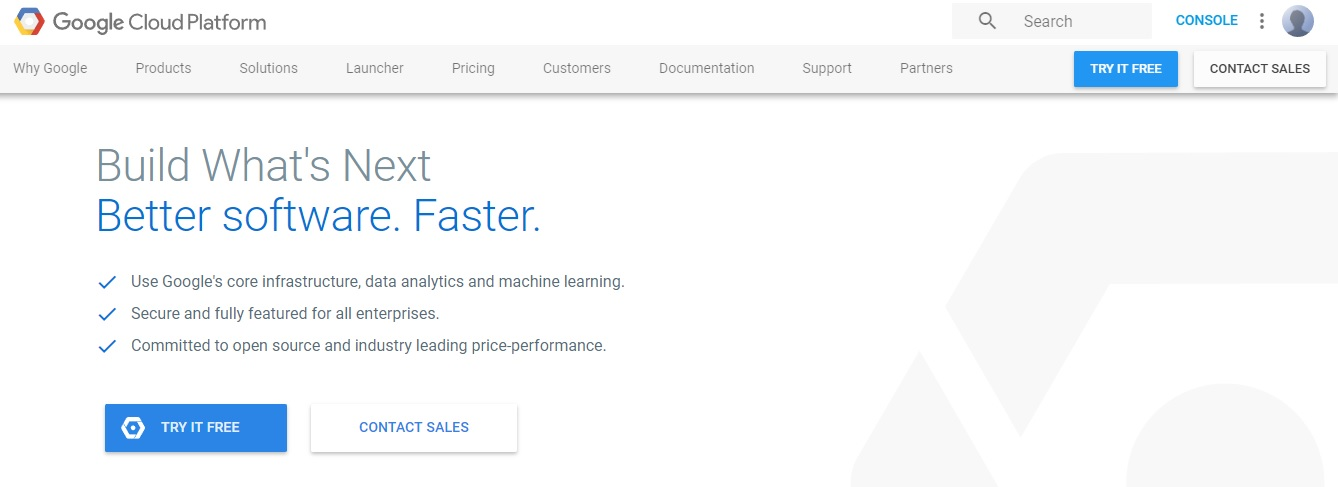 The Google Cloud home page.