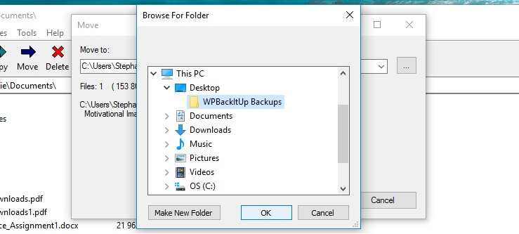 The location selection box in the Move file window of 7-Zip