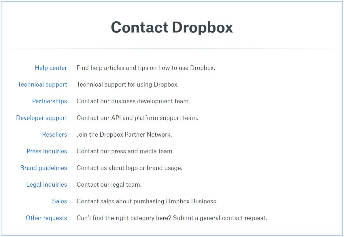 Dropbox customer support