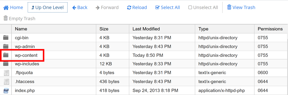 cPanel File Manager Folder Contents