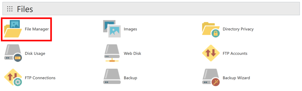 cPanel File Manager UI