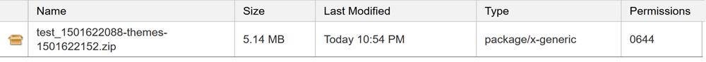 Upload theme backup file