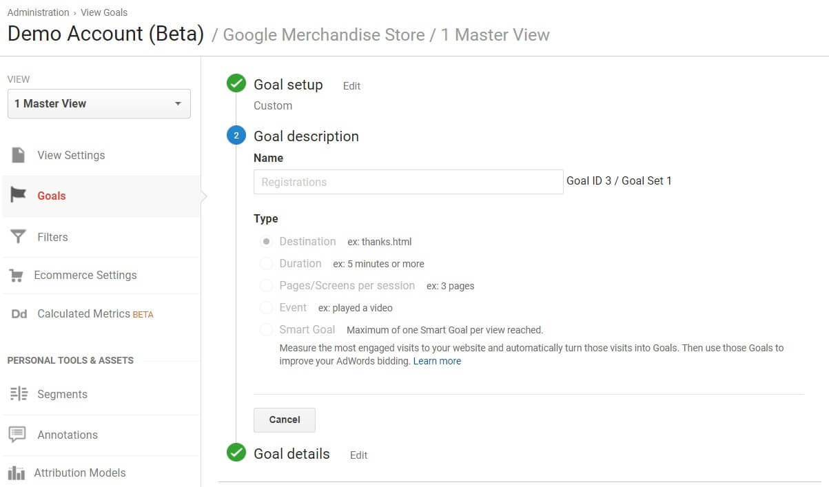 Google Analytics Goals options