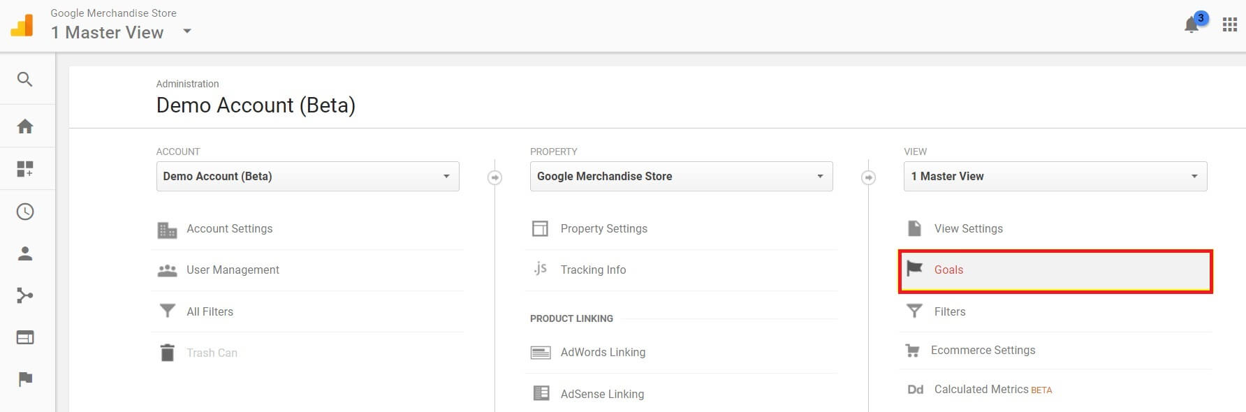 Google Analytics Goals option menu