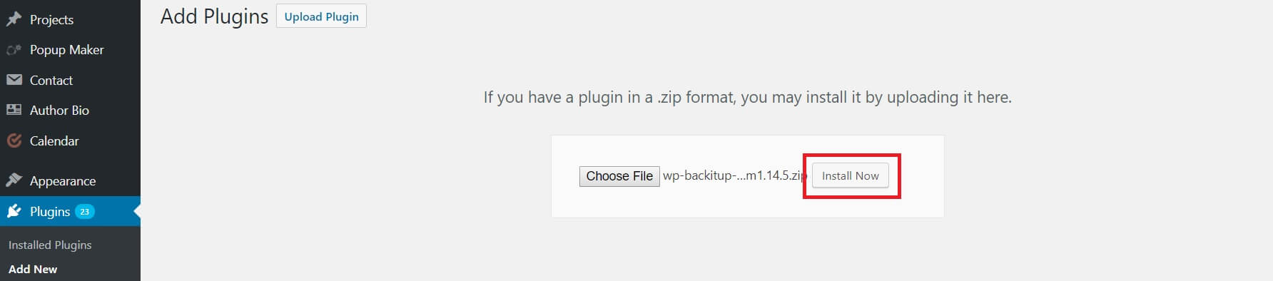Install Now button for plugins