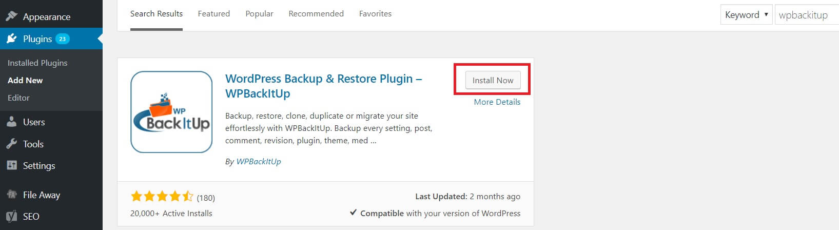 Install Now button for plugin installation