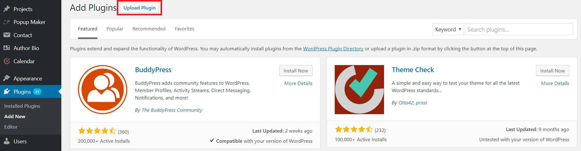 The Upload Plugin button on WordPress