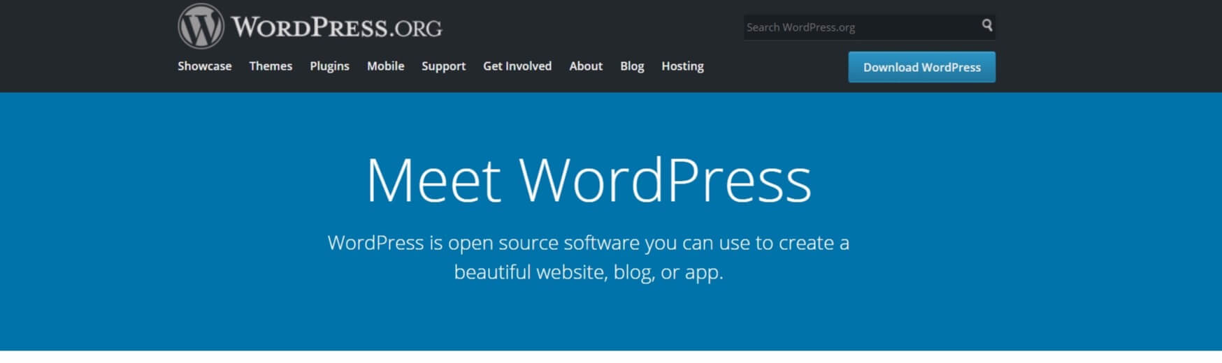 The WordPress homepage