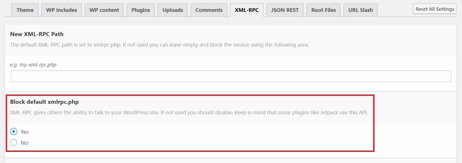The XML-RPC disable option in WordPress plugin