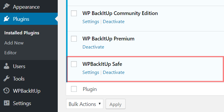 WPBackItUp Safe Plugin